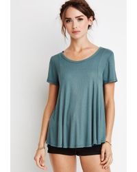Forever 21 | Green Ribbed Trapeze Tee | Lyst