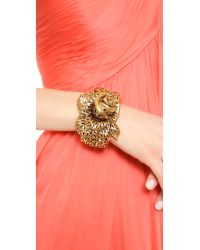 Oscar de la Renta Metallic Carved Rose Bracelet