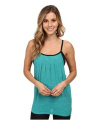 Beyond Yoga - Blue Pleated Twofer Tank Top - Lyst