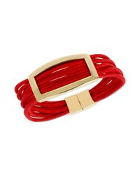 Kenneth Cole - Metallic New York Goldtone Plaque Red Cord Multirow Bracelet - Lyst