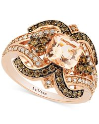 Le Vian | Pink Chocolatier® Peach Morganite (1 Ct. T.w.) And Diamond (3/4 Ct. T.w.) Ring In 14k Rose Gold | Lyst