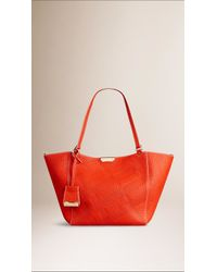 Burberry | Orange The Small Canter In Bonded Leather | Lyst