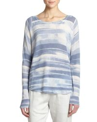 VINCE | Blue Wool & Cashmere Striped Sweater | Lyst