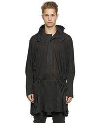 Ann Demeulemeester - Black Hooded Lightweight Cotton Jersey Jacket for Men - Lyst