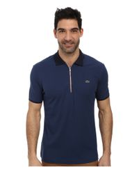 Lacoste | Blue Pique Pima Stretch Slim Fit Polo With Zipper Placket | Lyst