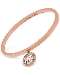 Michael Kors | Metallic Gold-tone Crystal Logo Charm Bracelet | Lyst