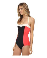 kate spade new york - Black Color Block Halter Maillot - Lyst