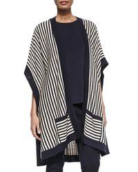 Misook - Blue Striped Open Kimono Cardigan - Lyst