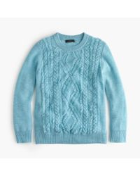 J.Crew | Blue Cable Crewneck Sweater With Fringe | Lyst