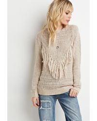 Forever 21 - Natural Tassel-front Sweater - Lyst