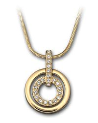 Swarovski | Metallic Gold Plated And Crystal Circle Pendant Necklace | Lyst