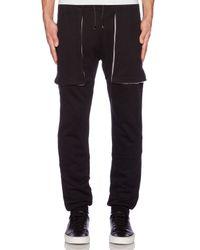 Lot78 - Diamond-Stitch Leather Jogger Pants-Black Size Xs for Men - Lyst