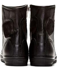 Alexander McQueen - Black Leather High Top Sneakers for Men - Lyst