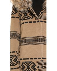 BB Dakota - Brown Brenden Jacquard Coat W/fur Trim Hood - Oatmeal - Lyst