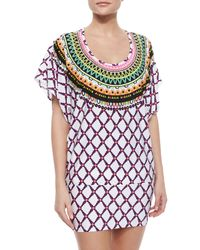 Trina Turk - Purple Kon Tiki Embroidered Tie-Waist Tunic - Lyst