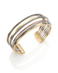 Michael Kors | Metallic Brilliance Statement Tri-Tone PavÉ Multi-Band Cuff Bracelet | Lyst
