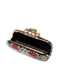 Alexander McQueen | Black Brooch Embroidered Knuckle Box Clutch | Lyst