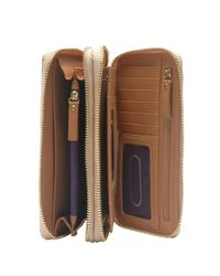 Tusk | Brown Madison Saffiano Leather Double Zip Clutch | Lyst