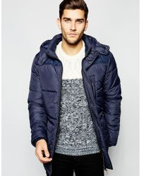 Blend | Blue Quilted Jacket Hooded Long for Men | Lyst