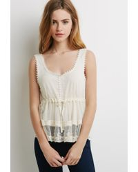 Forever 21 | Natural Crocheted Dot Mesh Top | Lyst