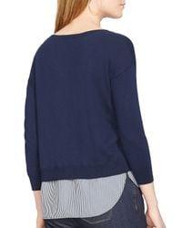 Ralph Lauren - Blue Lauren Layered Shirttail Sweater - Lyst