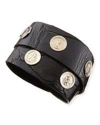 Katie Design Jewelry | Black Saintly Studs Alligator Wrap Bracelet | Lyst