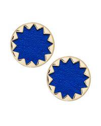 House of Harlow 1960 | Blue Goldtone Leather Sunburst Stud Earrings | Lyst