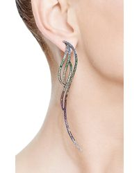AS29 - Metallic Multicolored Rainbow Sapphire Flow Long Four Lines Earring - Lyst