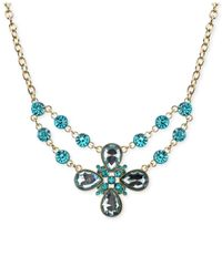 2028 | Metallic Gold-tone Aquamarine Crystal Flower Necklace | Lyst