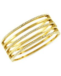Vince Camuto | Metallic Open Cutout Pave Hinge Bangle Bracelet | Lyst