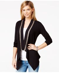 Guess | Black Draped Asymmetrical Cardigan | Lyst