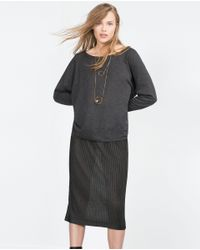 Zara | Gray Oversize Sweater | Lyst
