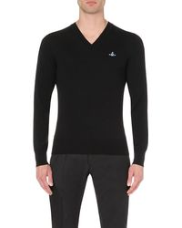 Vivienne Westwood | Black Classic V-neck Orb Jumper for Men | Lyst