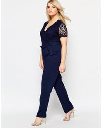 Club L - Blue Plus Size Jumpsuit With Scallop Lace Top - Lyst