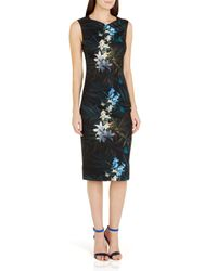 Ted Baker | Black Loua Floral Sheath Dress | Lyst
