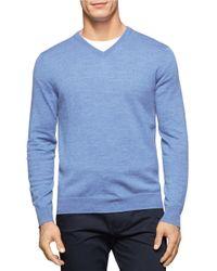 Calvin Klein | Blue Merino Wool V-neck Sweater for Men | Lyst
