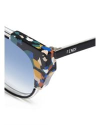 Fendi | Black Colourblock Acetate Round Cat Eye Sunglasses | Lyst