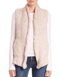 June - Natural Shawl Knit Rabbit Fur Vest - Lyst