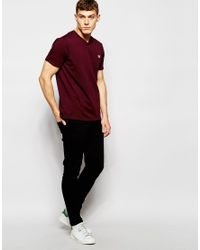 Stussy | Red T-shirt With V Neck In Mahogany Marl for Men | Lyst