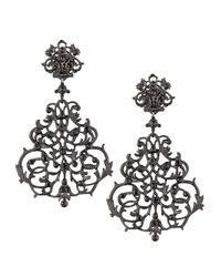 Jose & Maria Barrera | Black Lace Scroll Chandelier Earrings | Lyst