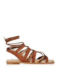 Paul Andrew | Brown Lace-up Elaphe And Suede Sandals | Lyst