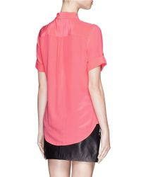 Equipment - Pink 'slim Signature' Short Sleeve Silk Shirt - Lyst