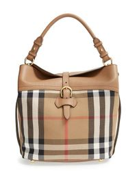 Burberry | Brown 'medium Sycamore' House Check & Leather Hobo | Lyst
