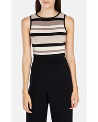 Karen Millen | Black Graphic Shiny Rayon Stripe Knit Top | Lyst
