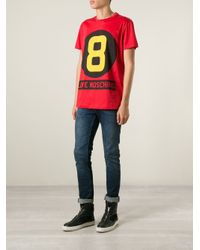 Love Moschino - Red Eight Ball-Print T-Shirt for Men - Lyst
