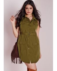 Missguided | Natural Plus Size Pocket Button Front Dress Khaki | Lyst