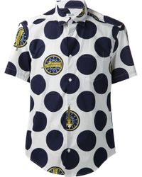 KENZO - Blue 'Dots & Logo' Shirt for Men - Lyst