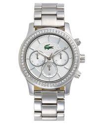 Lacoste | Metallic Crystal Bezel Guilloche Dial Bracelet Watch | Lyst
