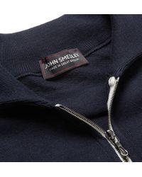 John Smedley - Blue Farmon Zip-Collar Sea Island Cotton Polo Shirt for Men - Lyst