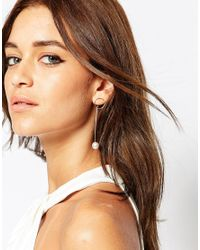 ASOS - Natural Open Circle And Faux Pearl Through Earring - Lyst